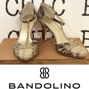 BANDOLINO T-Strap Snakeskin Pump